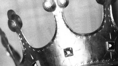 Black and white photograph of a crown