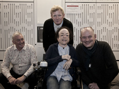 Left to right - Ian Macrae, Rob Crossan, Liz Carr, Steve Day (in Ouch studio)