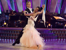 Alesha Dixon and Matthew Cutler dancing the waltz on Strictly Come Dancing