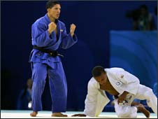 Taraje Williams-Murray of the United States on the mat after losing a judo bout to Javier Antonio Guedez Sanchez of Venezuela at the Beijing Olympics.