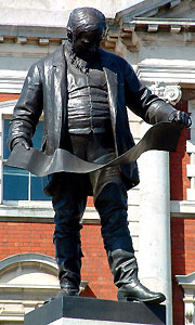 Statue of David Davies outside the Dock Offices in Barry