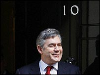 Gordon Brown outside Number 10 Downing Street