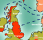 The map shows how Vikings came to the British Isles