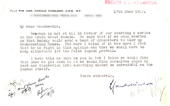 Document - Letter from Harold Nicolson to the BBC.
