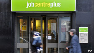 People walking past Job Centre