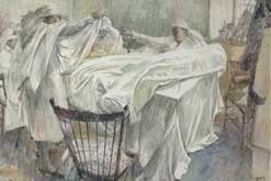 Painting of Women making bandages by Erlund Hudson. Picture courtesy of the Imperial War Museum.