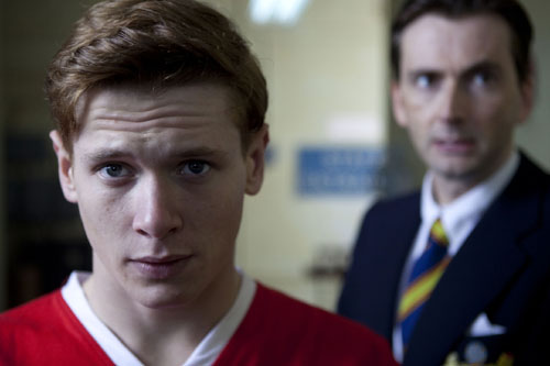Bobby Charlton, played by Jack O'Connell, and Jimmy Murphy, played by David Tennant.