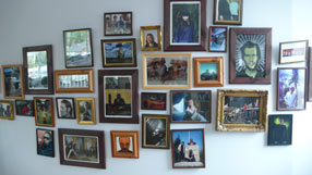 Photo wall at the Warp headquarters