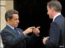 French President Nicolas Sarkozy and British Prime Minister David Cameron after the Anglo-French summit