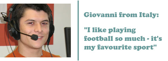 Giovanni from Italy - 'I like football so much, it's my favourite sport'