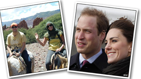 David and Jennifer (left picture) and Prince William and Kate Middleton