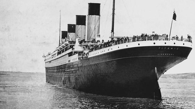 Titanic on its arrival at Queenstown (now Cobh) harbour, 11 April 1912