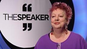 speaker mentor jo brand being interviewed