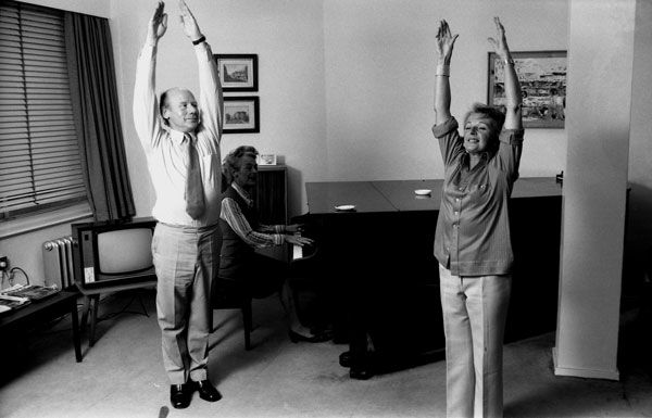 Roy Plomley with Eileen Fowler, fitness expert, in 1974.