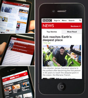 Screengrab three options for accessing BBC News on a mobile