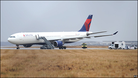 Northwest Airlines Flight 253 on the runway after arriving at Detroit Metropolitan Airport from Amsterdam on Friday, Dec. 25, 2009