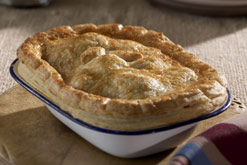 Photograph shows beef and ale pie from 'It's all in the Pastry' course, Betty's Cookery School