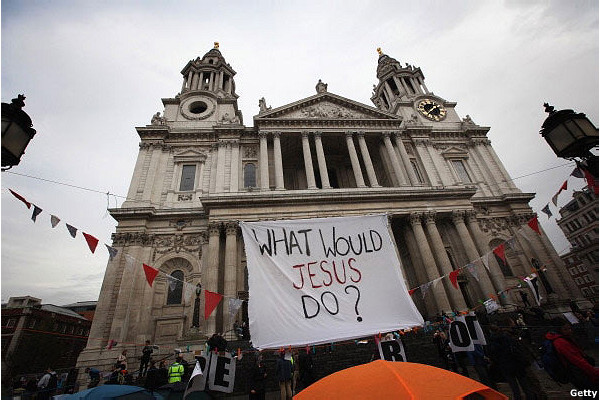A sign outside St Paul's cathedral on October 22nd during the Occupy London protest