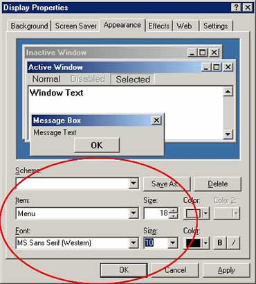 Windows Display Properties dialog box