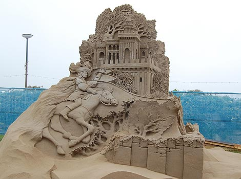 Sleeping Beauty sand sculpture