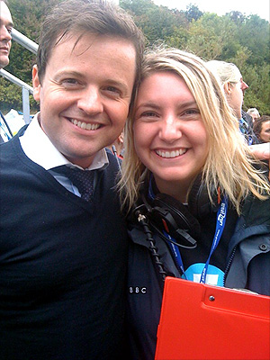 5 live's Anna Foster with Declan 'Dec' Donnelly at the start of the Great North Run