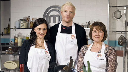 Celebrity Masterchef finalists: (L-R) Jayne Middlemiss, Iwan Thomas and Wendi Peters (image: BBC/Shine Ltd/Des Willie)