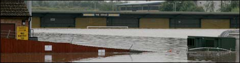 Flooding at Gloucester City AFC's Meadow Park home