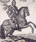 Oliver Cromwell depicted on horseback, 1650