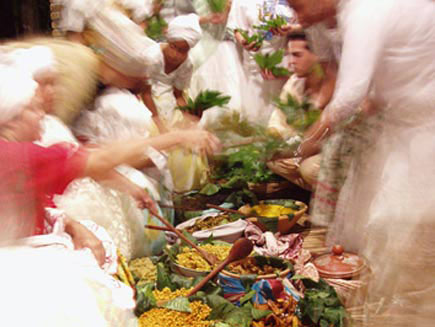 The Olugbajé feast. It is served in large leaves, and contains food sacred to all the deities. It is believed the food has healing powers.