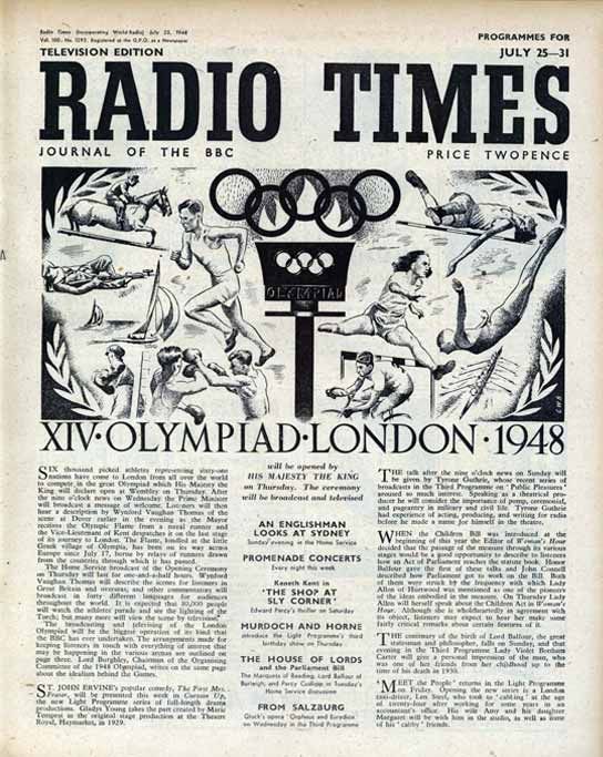 Radio Times cover for the Olympiad, London 1948.