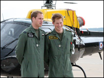 Prince William and Prince Harry at RAF Shawbury