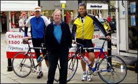 Cyclists with Dennis Waterman