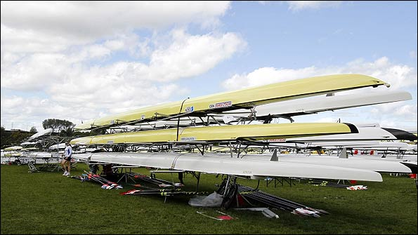 Boats stay stacked up as high winds cancel the heat races on day one