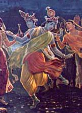 Krishna dancing with women