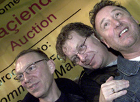 Tony Wilson, Peter Hook and ** at the Hacienda auction