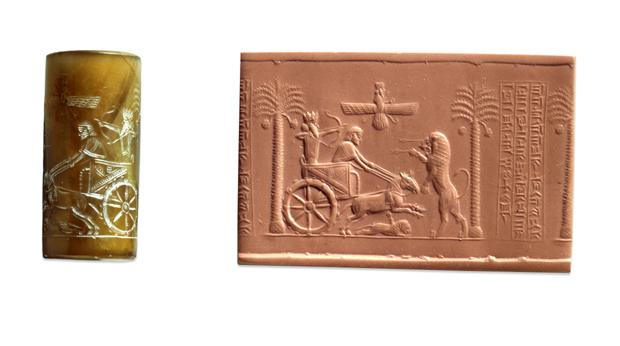 A cylinder seal (left) and impression showing the Persian king, Darius in a chariot. © Trustees of the British Museum