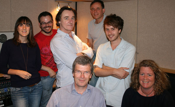Farewell to the Jazz Library team, from left to right, engineers Charlie, James and Chris, Alyn, executive producer Frank, broadcast assistant Jon and podcast producer Anna.