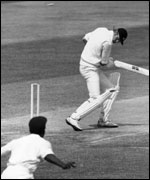 Tony Greig bowled Copyright Allsport Hulton/Archive