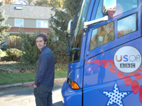 Jon Kelly with the BBC Talking America bus