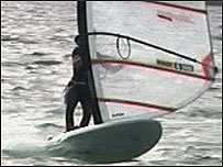 Sailboarding action