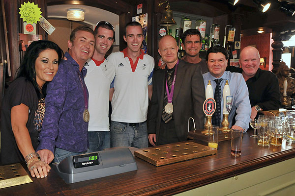 Richard and Peter Chambers with Jessie Wallace, Shane Richie, Jake Wood, Scott Maslen, Jameie Foreman and Steve McFadden