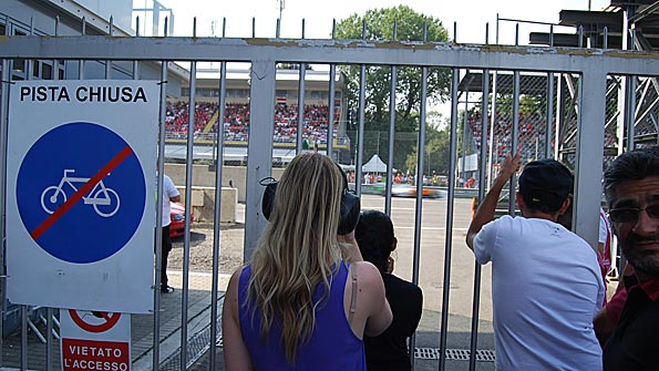 Fans at a gate to trackside at Monza, during the Italian Grand Prix
