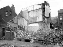 Bomb damage in Beeston, Copyright Leodis