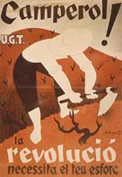 Poster from the Spanish civil war appealing to country workers: 'Peasants! The revolution is as necessary as the shoots on the vine'