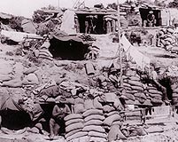 Allied dugouts cling precariously to the Gallipoli hillsides