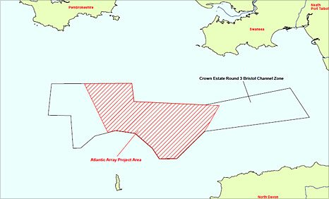 Map showing the area covered by the proposed new windfarm in the Bristol Channel.
