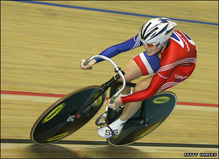 Victoria Pendleton cycling to victory in the Cycling World Championships 2008