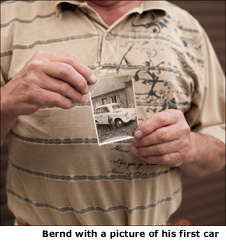 Bernd with a picture of his first car
