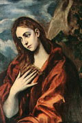 Mary Magdalene, depicted as a fair-skinned woman with long hair and wearing red, holds a hand to her chest, seeming lost in thought