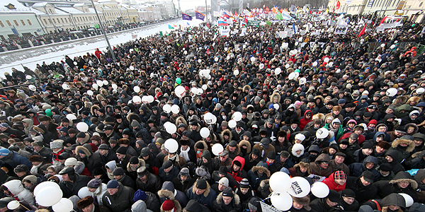 Russian protestors in Moscow
